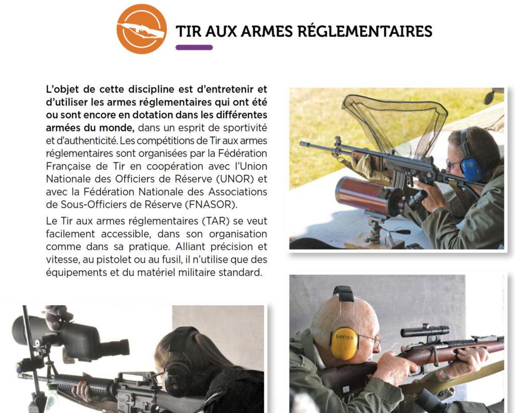 discipline tir aux armes réglementaire